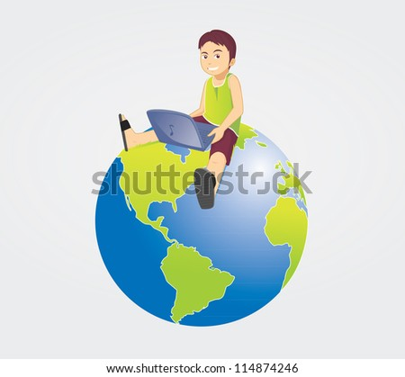 playing laptop on earth - stock photo