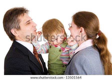 playing mother, father and child in office - stock photo