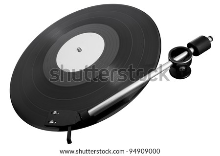 playing phonograph record on a white background - stock photo