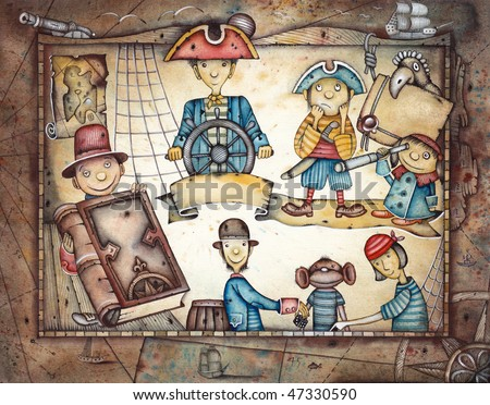 Playing Pirates - stock photo