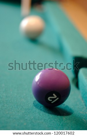 Playing pool - Twelve ball will be hit.