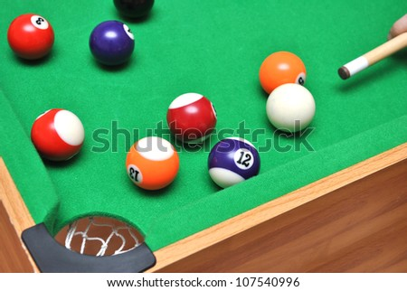 Playing the billiard on table