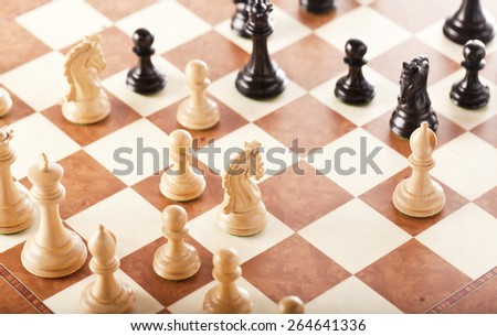 Playing the chess game - middle-game - stock photo