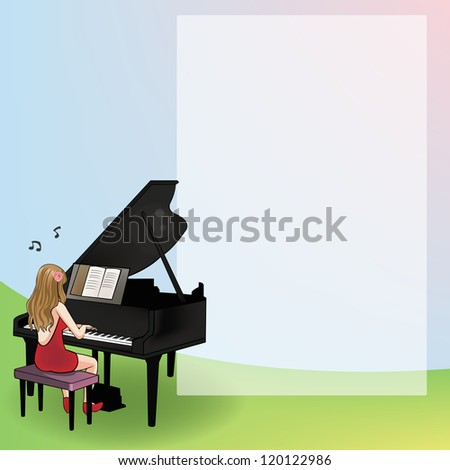 Playing the piano for notepad - stock photo
