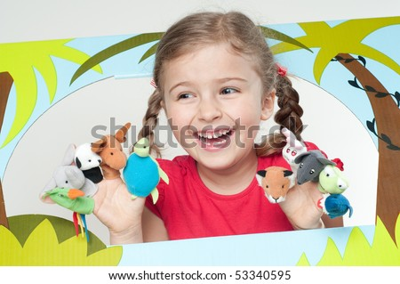 Playing theater  ( no-name finger puppets ) - stock photo