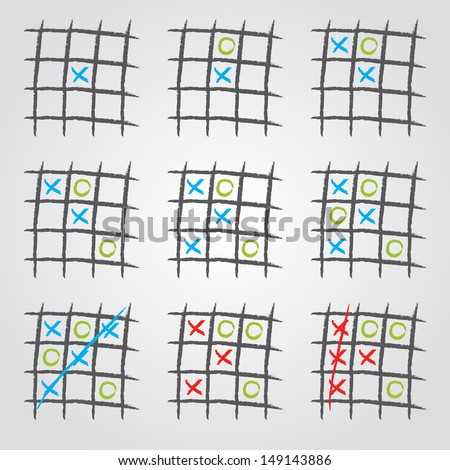 Playing tic tac toe variations on gray background - stock photo