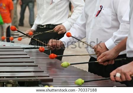 playing xylophone - stock photo