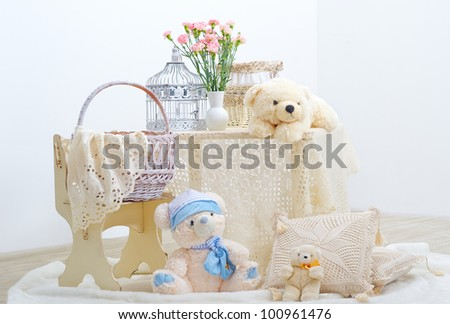 Playroom interior for children with teddy bears - stock photo