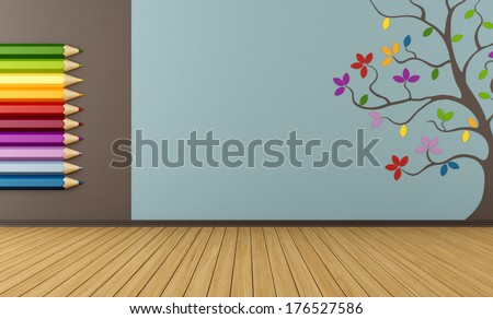 Playroom with big colorful pencils and tree on wall  - rendering - stock photo