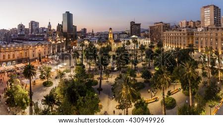 Plaza de Armas square in Santiago, Chile - stock photo