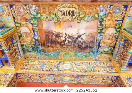 Plaza de Espana, Sevilla, Spain - famous old decorative ceramics alcove. Madrid theme. - stock photo