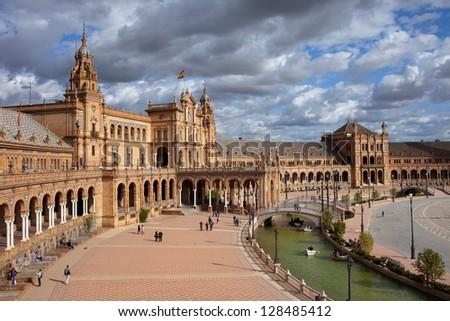 Plaza de Espana (Spain's Square) in Seville, Spain, Andalusia region. - stock photo