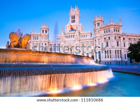 Plaza de la Cibeles (Cybele's Square) - Central Post Office (Palacio de Comunicaciones), Madrid, Spain. - stock photo