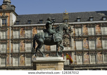 Plaza Mayor Square in the historical center of Madrid. Equestrian statue of the King Phillip III of Spain.