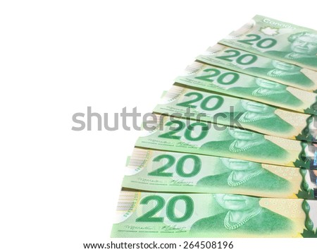PLEASANT VALLEY, CANADA - MARCH 27, 2015: The Canadian twenty dollar note is a banknote of the Canadian dollar. The Frontier Series banknote was released in 2012. - stock photo