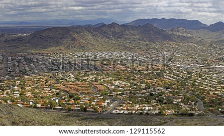 Pleasant Winter day in Scottsdale and Phoenix as seen from North Mountain park, Arizona - stock photo