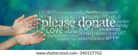 Please donate fund raising word cloud - wide banner with a woman's hands in an open cupped needy gesture with a word cloud on the right surrounding the words PLEASE DONATE on a blue bokeh background   - stock photo