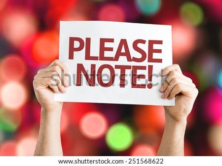 Please Note card with colorful background with defocused lights - stock photo