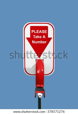 Please Take a Number Machine or Dispenser on a Blue Background - stock photo