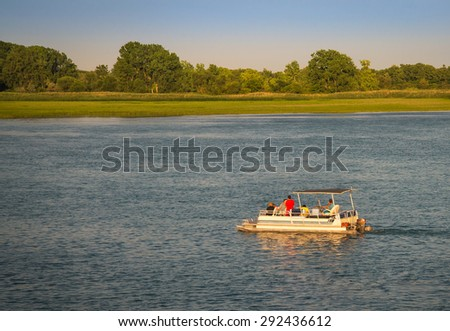 Pleasure Boating on the south Detroit River - stock photo