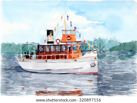 Pleasure ship (steamer) on a lake in Finland. Watercolor painting. - stock photo