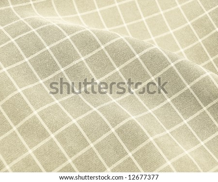 Pleated checkered fabric closeup - series - ivory, beige. Good for background. More fabrics in my port. - stock photo