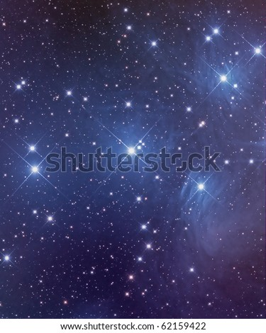 Pleiades Star Cluster, M45, Seven Sisters, An Open Cluster in Taurus - stock photo