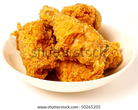 plenty fried chicken in white plate - stock photo