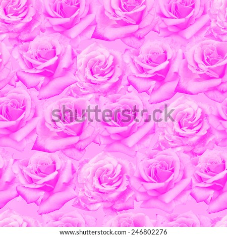 Plenty natural roses seamless background. Toned roses endless pattern. - stock photo