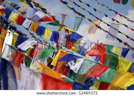 Plenty of colorful Tibetan Buddhist prayer flags - stock photo