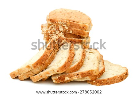 plenty of oat bread slices isolated on white  - stock photo