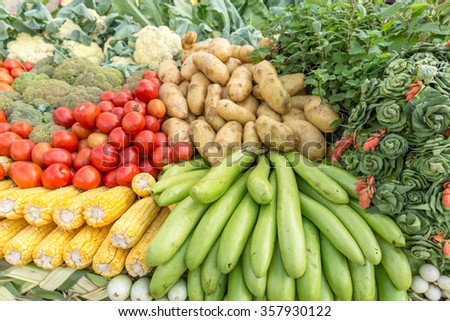 plenty of vegetables occupy the entire frame, group of vegetables closeup view