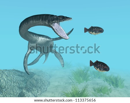 Plesiosaurus While Hunting Computer generated 3D illustration - stock photo