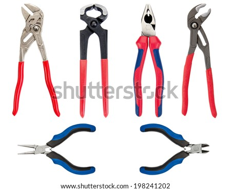 Pliers, hand tool, isolated on white background - stock photo