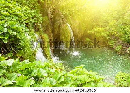 Plitvice lakes national park in Croatia. - stock photo