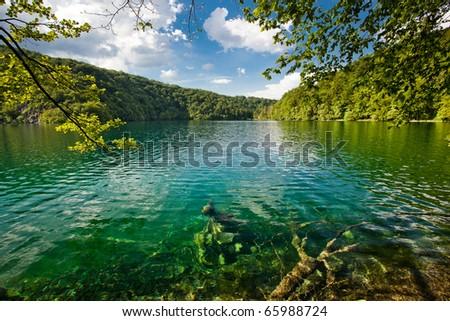 Plitvice Lakes national park in Croatia beautiful Landscape - stock photo