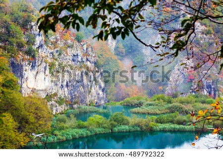 Plitvice Lakes National Park landscape in Croatia.
