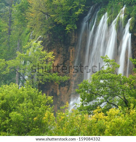 Plitvice lakes of Croatia (Hrvatska) - national park in summer - stock photo