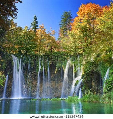 Plitvice lakes of Croatia - national park in autumn - stock photo