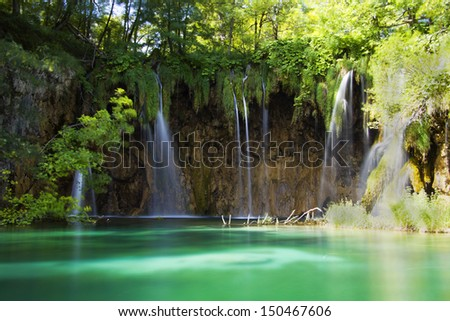 Plitvice lakes waterfall, Croatia - stock photo