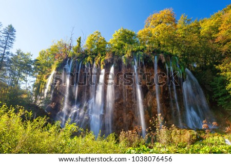 Plitvice Lakes Waterfall in National Park