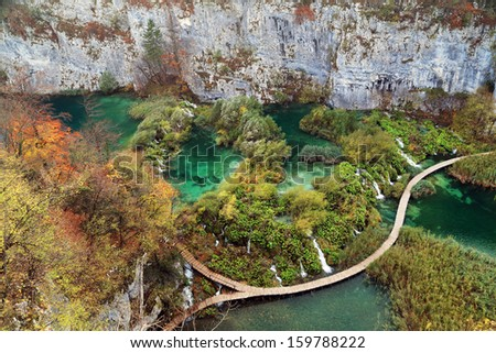 Plitvice National Park, Croatia, Europe - Autumn colors - stock photo