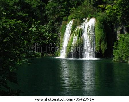 plitvicka lake waterfall - stock photo