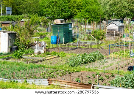 Plots of land cultivated by the tenants for food production - stock photo