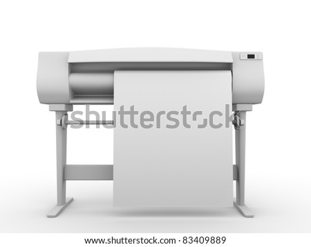 Plotter. Frontal view. Professional equipment for digital printing. 3d render - stock photo