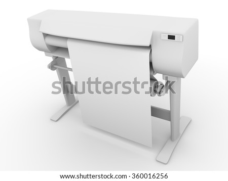 Plotter side view. CMYK and RGB professional large inkjet printer used in graphic arts, graphic design and cad - stock photo