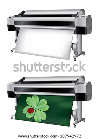 Plotter with roll of paper not printed and printed with ladybug on four-leaf clover - stock photo