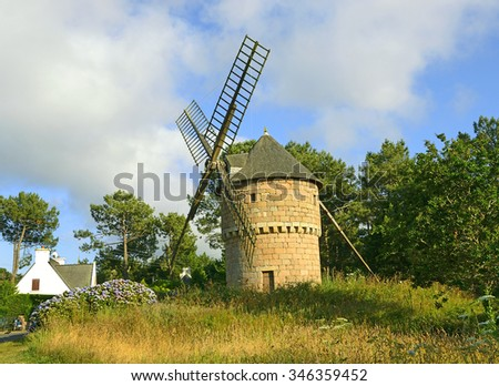 Ploumanach, old windmill of Brittany, France
