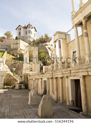 PLOVDIV, BULGARIA - NOVEMBER 09, 2015: Ancient theatre built in IIth century