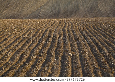plowed and ready for sowing agricultural fields. - stock photo